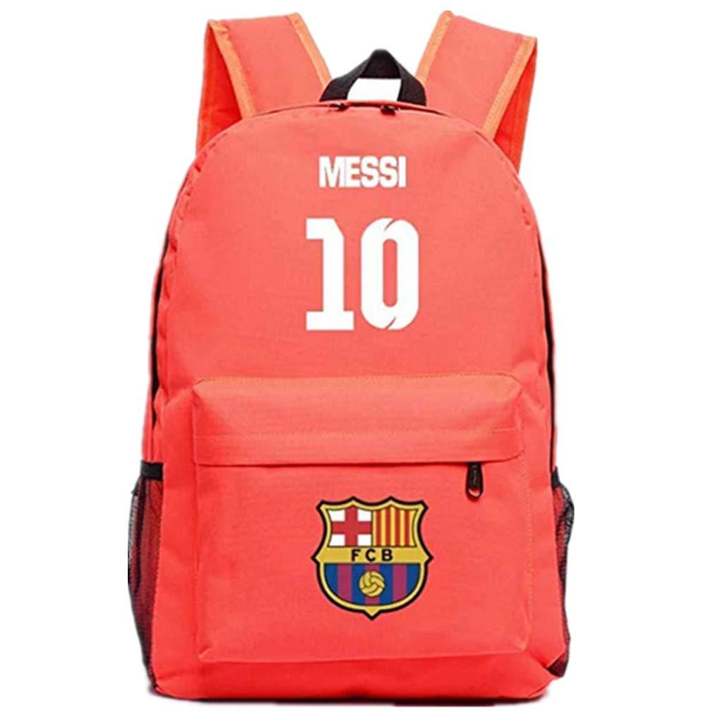 Barcelona Fans Backpack - Lionel Messi #10 Barcelona Rucksack for Back to School Noctilcent Bag (Messi Pink)