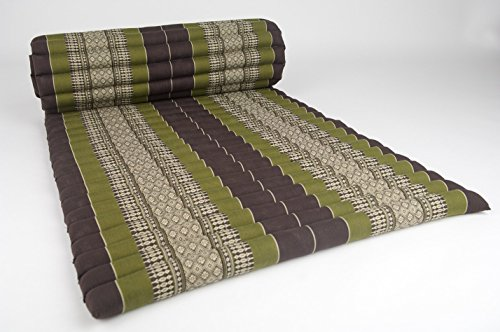Design by UnseenThailand Roll Up Thai Mattress, Kapok Fabric, Premium Double Stitched, 79x30x2 inches. (Brown Green) by UnseenThailand Warehouse