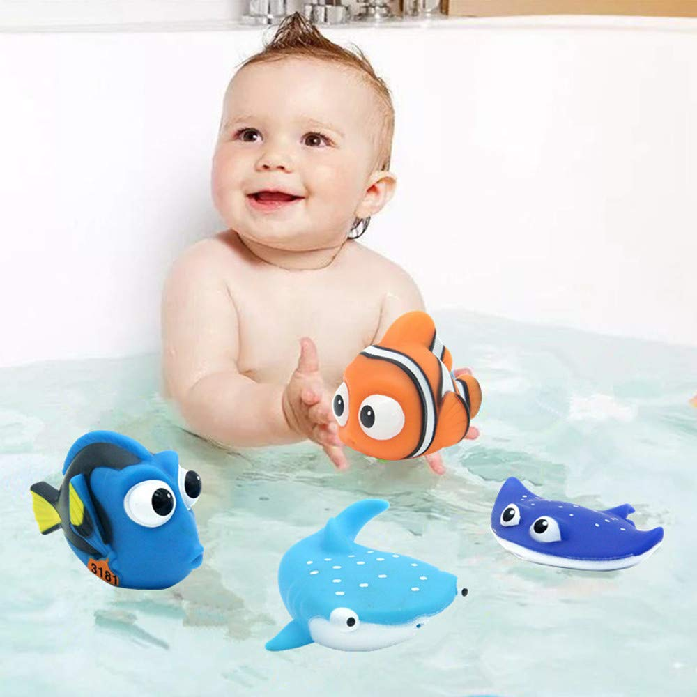 ALLCELE Baby Bath Toys,Finding Dory Nemo Squirt Toys for Baby &Toddler Toys Shower and Swimming 4pcs