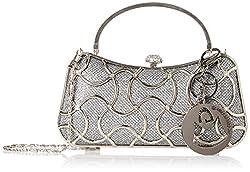 MG Collection Marya Metallic Woven Minaudiere Evening Bag, Grey, One Size