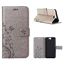 """HTC One A9 Case, LANDEE Advanced Pressed Flowers Series The Unique Design PU Leather Wallet Stand Flip Case for HTC One A9 (5.0"""") (HTCA9-P-0402)"""