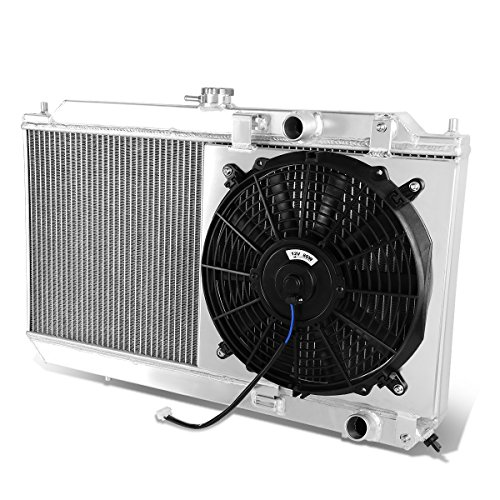 For Acura Integra High Performance 2-Row Dual-Core Aluminum Radiator w/12V Fan Shroud(One Fan) (Core Radiator Aluminum Dual)