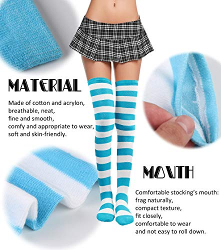 b4eba8621e9f5 FIBO STEEL 6 Pairs Long Thigh High Socks for Women Girls Striped Knee High  Leg Warmers