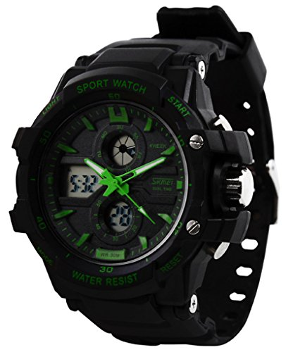 Sport Watches for Outdoor Use Waterproof and Shock-proof Show Two Time by SKM