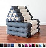 Leewadee Foldout Triangle Thai Cushion, 67x21x3 inches, Kapok Fabric, Grey Anthracite White, Premium Double Stitched