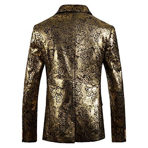 Coupe Blazer Hommes Santimon Casual Floral Revers Deux Costume Bouton Slim Cranté Smoking Or Veste Fit YddPq