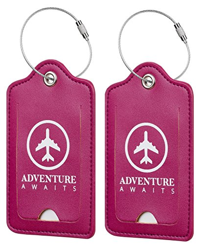 Chelmon Leather Luggage Tags Baggage Bag Instrument Tag 2 Pcs Set (Purple blueberry 5020)