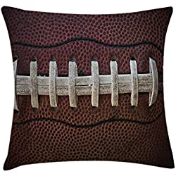 Lunarable Sports Throw Pillow Cushion Cover, American Football Leather Laces Fun Traditional Sport Close Up Photo Print, Decorative Accent Pillow Case, 26 W X 16 L Inches, Dark Brown Beige