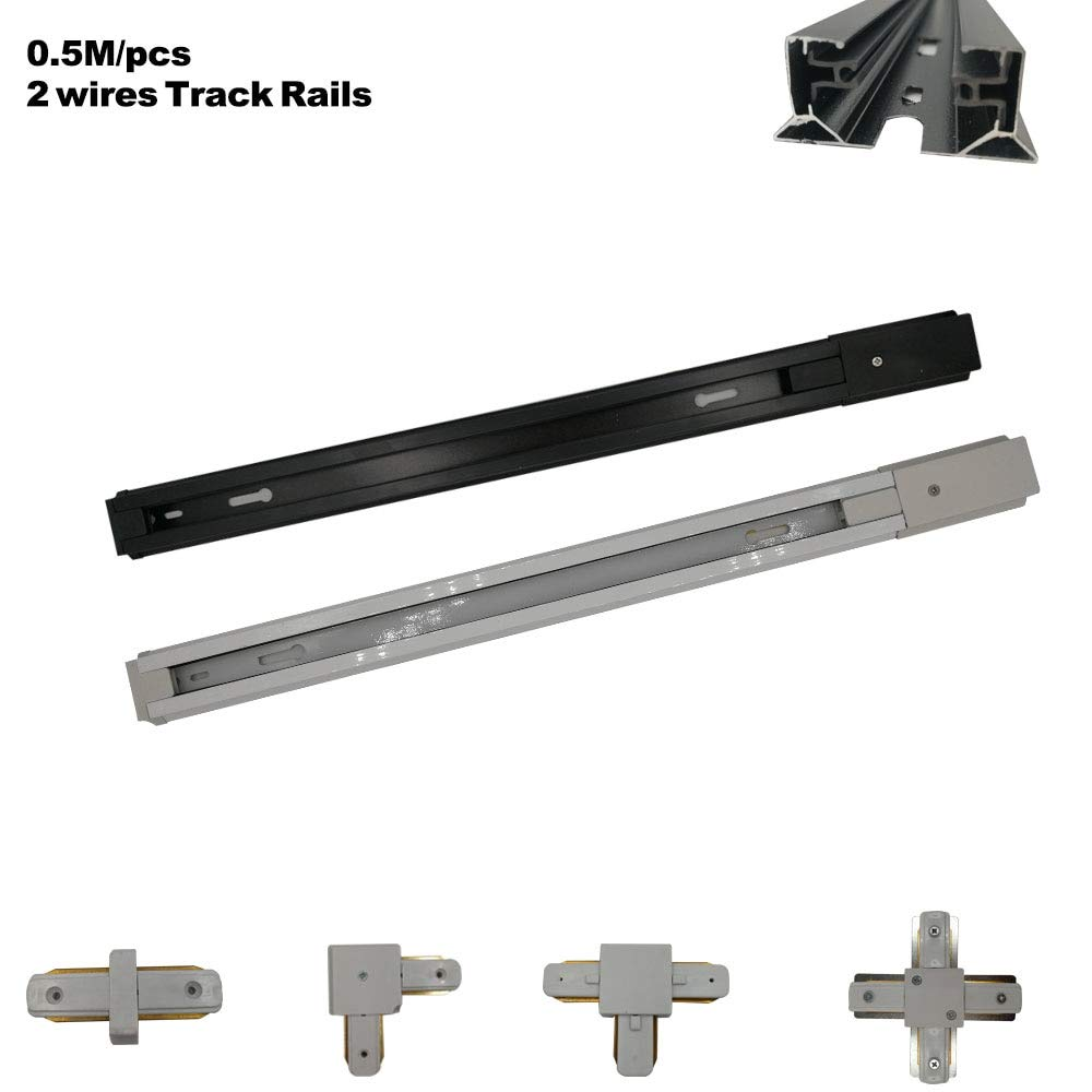 Kamas 1pcs 0.5M track rail 1 Phase 2 wires guide rail for led track light use - (Color: Black, Base Type: Rail)