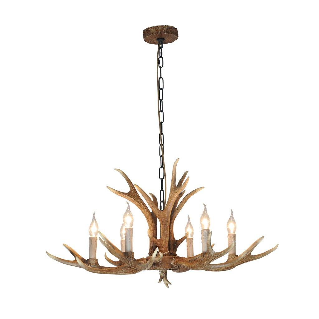 & Perfect ** - Antlers vintage Style resina 6 candelabros de luz, lámparas de asta de campo rural americano, sala de estar, bar, cafetería, comedor lámparas de cuerno de venado [Clase de eficiencia energética A+] Antlers chandeliers
