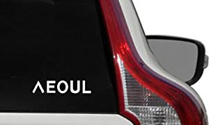 Text Seoul Korean Character Alphabet Mix Car Die Cut Vinyl Decal Bumper Sticker for Car Truck Auto Windshield Wall Window Ipad Tablet MacBook Laptop Computer Home Custom and More (White)