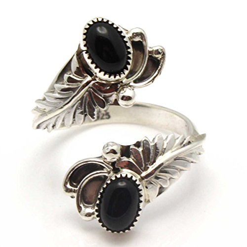 Adjustable Sterling Silver & Onyx RIng (Navajo Adjustable Ring)