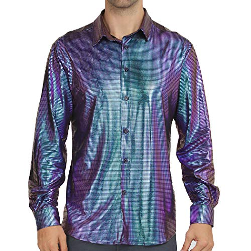 WULFUL Men Dress Shirt Sequins Long Sleeve Button Down Shirt Luxury Disco Party Nightclub Prom Costume -
