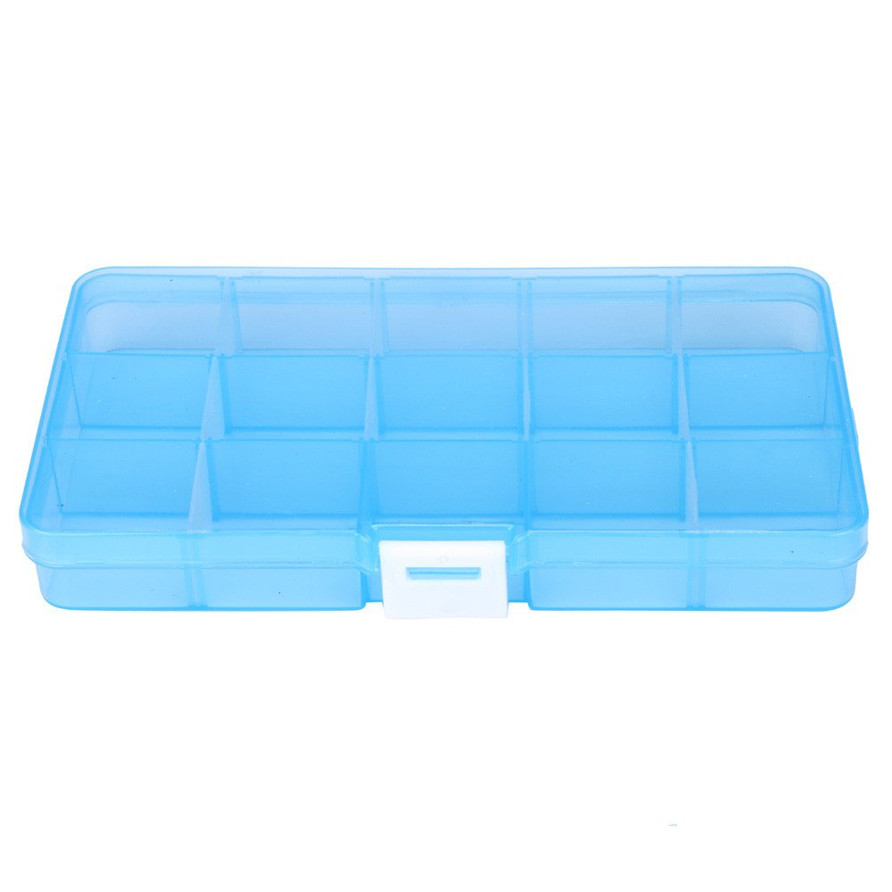 Usstore 15 Grids Jewelry Holder Box Clear Necklace Nail Art Tips Stud Earring Hair Organizer Storage Case Container (C, 6.8''x3.9''x0.91'')