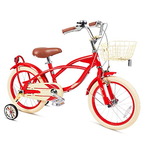 FOUJOY Kids Bike 16-18 Inch with Training Wheels and Basket Gentle Style Rustic Look Red Blue