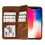 Burkley Case Bi-Fold Detachable Leather Wallet Case, Magnetic Closure and Snap-on | Book Style Cover with 10 Card Holders in a Gift Box Compatible with Apple iPhone Xs MAX (Golden Brown)