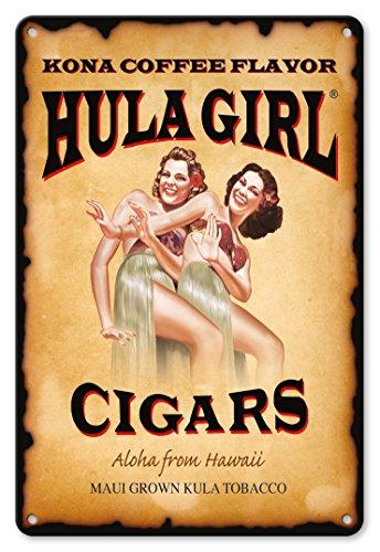 Hula Girl Cigars (Pacifica Island Art 8in x 12in Vintage Tin Sign - Hula Girl Cigars - Aloha from Hawaii - Kona Coffee Flavor by Hula Girl)