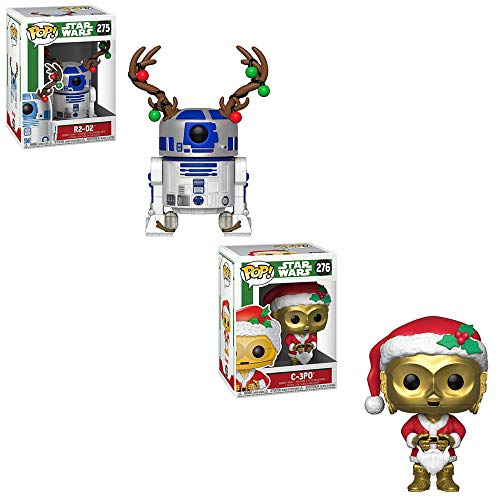 Funko POP! Star Wars: R2-D2 with Christmas Antlers and C-3P0 in Christmas Santa Claus Costume Bobble-Head Toy Action Figures - 2 POP Bundle (Santa Head Bobble)