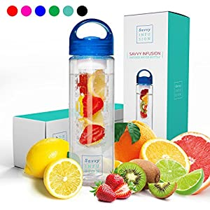Savvy Infusion Water Bottles - 24 or 32 Ounce - Featuring Unique Leak-Proof Sealed Cap w/ Handle - Includes Bonus Recipe Ebook (Ships to you in either our original packaging or new updated packaging)