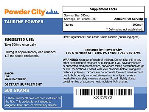 Powder City Taurine Supplement Powder (500 Grams)