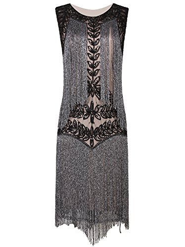 Vijiv Women's Flapper Dresses 1920s Gatsby Full Fringed Vintage Cocktail Dress (20s Flapper Dress Halloween Costumes)