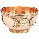 """New Age Imports, Inc... New Age Imports, Triple Moon Pentacle 3"""", Great for Altar Ritual Use, Incense Burner, Smudging Decoration Bowl, Offering Bo 3"""", 3"""" Diameter 2"""" Height, Copper"""