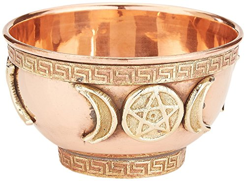 "New Age Imports, Inc. bo, Triple Moon Pentacle Copper 3"", for Altar, Ritual use, Incense Burner, smudging, Decoration, offering Bowl, 3"" Diameter 2"" Height"