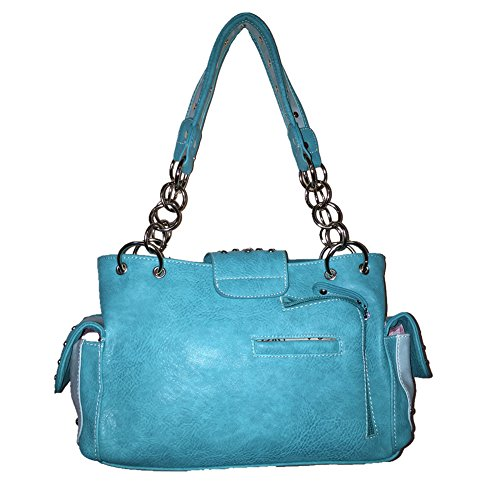 Concho Turq in 4 Concealed Buckle Colors Handbag Premium Rhinestone Embroidered Shoulder Carry PRC66w