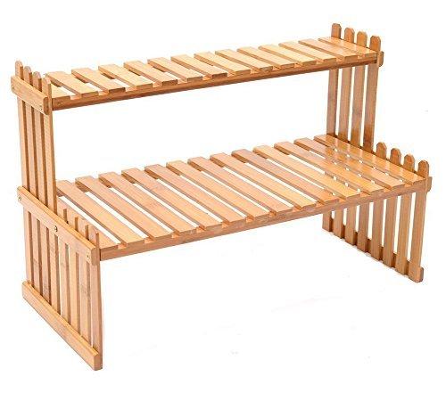 FreeBiz Tabletop Natural Bamboo Plant Stand, 2 Tier Desktop Shelf Rack (18.25 InCH, Brow)
