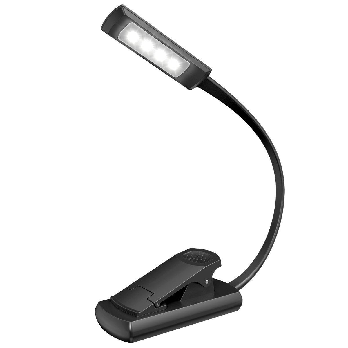 Book Light, Oria Reading Light, Clip Light with 4 LED 2 Brightness Modes, Battery Operated Music Stand Light, Portable Reading Lamp with Flexible Neck Eye-car for Reading Book, Magazine, Kindle in Bed