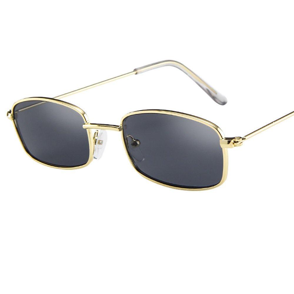 POHOK Vintage Glasses Women Man Square Shades Small Rectangular Frame Sunglasses