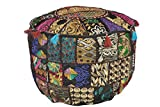 Marudhara Fashion Decorative Home Black Indian Pouf, Foot Stool, Round Ottoman Cover Pouf,Traditional Handmade Patchwork Ottoman Cover,Black Indian Cotton Cushion Ottoman Cover 18 x 14 inches