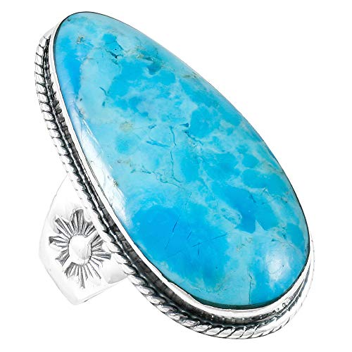 Turquoise Ring Sterling Silver 925 Genuine Gemstones Size 6 to 11 (Turquoise) (7)