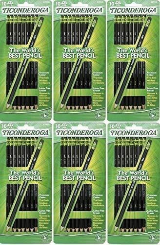 Dixon Ticonderoga Wood-Cased #2 Pencils, Pre-Sharpened, Pack of 60, Black (13915) (60) by Dixon Ticonderoga (Image #1)