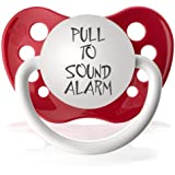 Personalized Pacifiers Pull to Sound Alarm Pacifier in Red