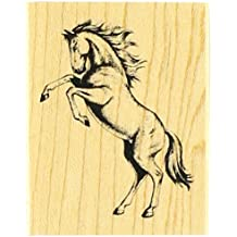 Rubber Stamp With Wood Handle, Classics Rearing Stallion
