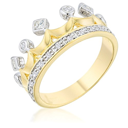 WildKlass Two Tone Crown Ring - 18k Gold Electroplated Mens Ring