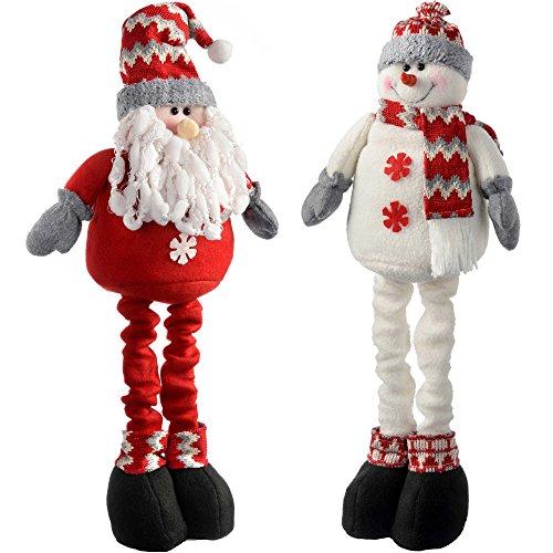 WeRChristmas Extendable Free Standing Santa and Snowman Decoration, 46 cm - Multi-Colour, Set of 2 ()