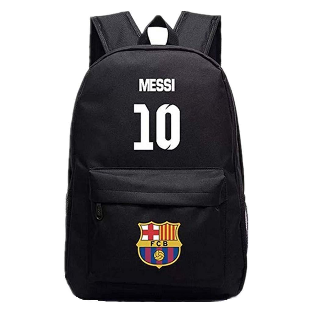 Barcelona Fans Backpack - Lionel Messi #10 Barcelona Rucksack for Back to School Noctilcent Bag (Messi Black)