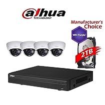 Dahua Branded 8CH Tribrid 720P/1080P DVR Package: HCVR5108 w/2TB HDD + (4) 2MP HDBW12A0EN Vandal-proof IR 2.8MM Dome