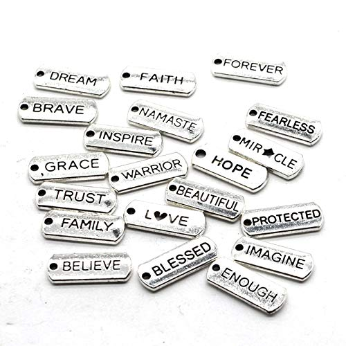 100PCS 20 Words Antique Silver Charm Pendants Collection, Vintage Jewelry Supply Lot, Wholesale, 20mm8mm -