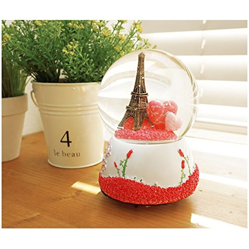 Lovely Paris Eiffel Tower Waterball Snowball Music Box Snow Globes - Music Boxes Perfect Home Kitchen Decor Perfect Gifts