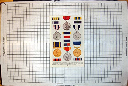 Antique Print of British Medals Ribbons Pacific Star Defence Atlantic Korea