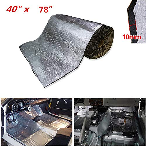 SHINEHOME Heat Shield Sound Deadener Noise Thermal Insulation Dampening Mat Soundproof Sound Deadening Mat 10mm 394mil 78 inches x 40 inches 21.53sqft