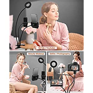 Anillo de luz con tres brazos ideal para maquillaje. Se pueden colocar dos dispositivos ala ves.