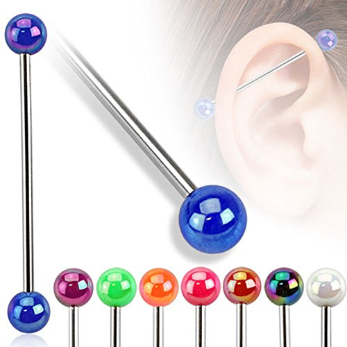 8 - Metallic Coated Acrylic Ball 14 Gauge 1&3/8 Inch 316L Surgical Steel Industrial Barbell T222