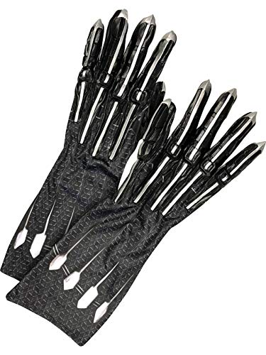 Rubie's Costume Co Men'sDeluxeBlackPantherGloves/ClawsAdult,Black/Silver,OneSize