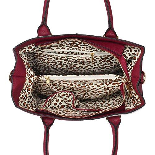 Xardi London–las mujeres bolsas de hombro bolsos de piel estilo señoras niñas Colegio Bolsa A4 granate/blanco