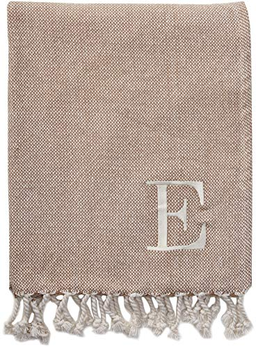 Mud Pie Woven Cotton Initial E Throw Blanket, Taupe