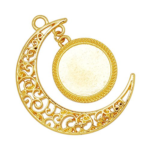 20pcs Moon Pendant Tray,16mm Round Pendant Bezel,Metal Filled Pendant Blank,Pendant Setting,18K Gold